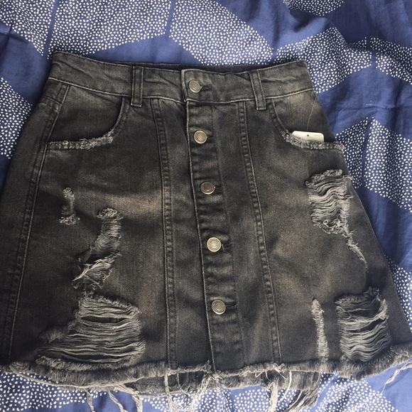 5df7a8a7fc80a NWT Free People Black Denim Button Down Mini-Skirt
